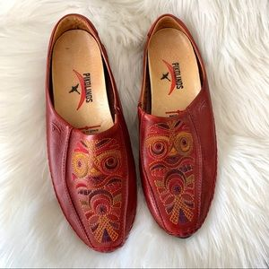 Pikolinos red leather loafers sz 9